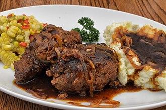 Salisbury steak - Image: Salisbury steak with brown sauce