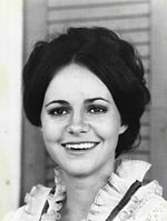Black-and-white photo of Sally Field in 1971 promoting Alias Smith and Jones.