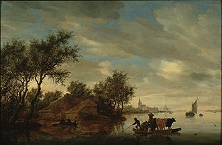 River Landscape with a Ferry near a Farmhouse