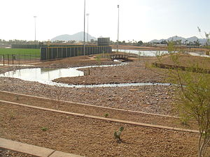 Salt River Fields at Talking Stick - The stream leading to the lake at Salt River Fields.