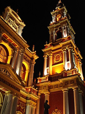 Tourism in Argentina - Church of San Francisco in Salta, with the highest church bell of South America