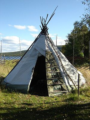 Lavvu - Sami lavvu at the open-air museum in Jukkasjarvi, Sweden.