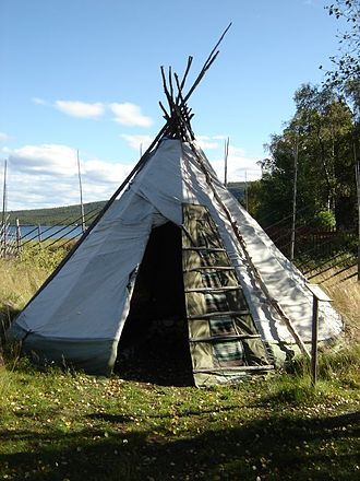 Lavvu - Sami lavvu at the open-air museum in Jukkasjarvi, Sweden.