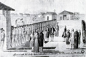Esselen - Indians of Mission San Carlos Borromeo are lined up with military precision to greet French expedition led by Jean Francois Galaup, Comte De La Perouse.  Watercolor attributed to Tomas de Suria or Jose Cardero, 1791. after a lost original painting at the occasion by Gaspard Duché de Vancy. 1786.