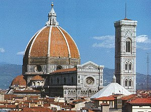 Pendent - The dome of Santa Maria del Fiore, constructed in segments. The structure is stable because each segment is supported by the others. Such segments are said to be pendent.