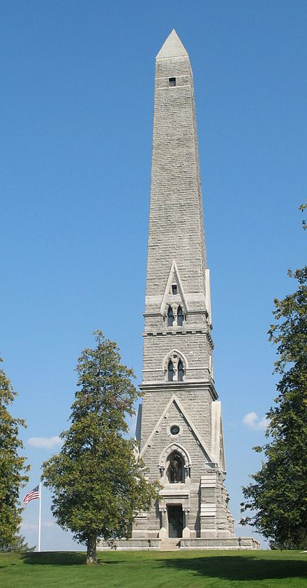The Saratoga Monument of 1883 commemorates the surrender of the British General Burgoyne to American General Gates in 1777
