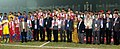 Sarbananda Sonowal with the Gold Medallist team Nepal, Silver Medallist team India and Bronze Medallist team Bangladesh in the Men's football event, at the 12th South Asian Games-2016, in Guwahati.jpg