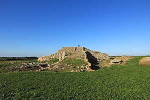 History of Italy - Pyramid of Monte d'Accoddi is an archaeological site in northern Sardinia, Italy, located in the territory of Sassari near Porto Torres. 4th millennium BCE.