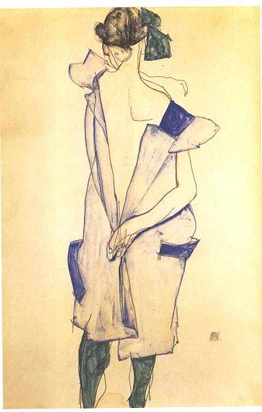 File:Schiele - Stehendes Mädchen mit blauem Kleid und grünen Strümpfen - 1913.jpg