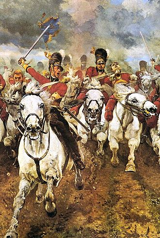 Horses in warfare - Scotland Forever! depicting the charge of the Royal Scots Greys at the Battle of Waterloo.