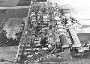 Scott Air Force Base - Scott Field - 1930. Still mostly in its World War I design, note the Eight World War I hangars in a straight line along the flightline. The addition of the large hydrogen plant with storage tank to support the airship mission.