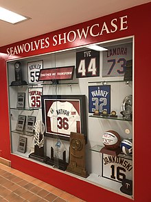 d63f2166 Seawolves Showcase of notable alumni and championship trophies.