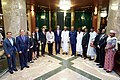 Secretary Kerry Poses for a Photo With Assistant Secretary Linda Thomas- Greenfield, U.S. Embassy Abuja Deputy Chief of Mission David Young and Other Advisers at the Presidential Villa in Abuja (29148743626).jpg