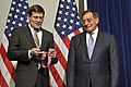 Secretary of Defense Leon E. Panetta receives the first awarding of the Director's Distinguished Service Medal from CIA Acting Director Michael Morell as he pay's one final visit to the CIA (2).jpg