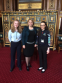 Secretary of State Karen Bradley was delighted to meet members of Girlguiding Victoria McCaul from Armagh and Emma Taggart from Londonderry on a visit to Parliament this week and learn about their advocacy work. (44027659510).png