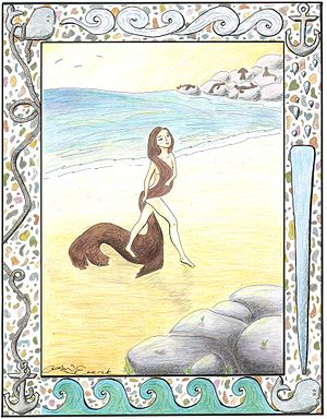 Selkie - A seal-woman steps out from her seal coat on the beach