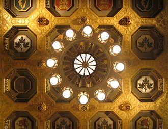 Gold leaf and painted coffers of the Senate chamber ceiling in Centre Block Senate ceiling.jpg