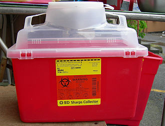"Needle exchange programme - ""Sharps"" container (for safe disposal of hypodermic needles)"