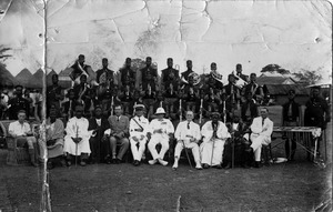 European colonial officials pictured with native chiefs