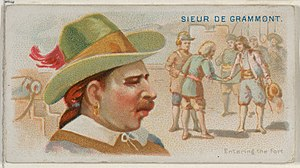 Michel de Grammont - Image: Sieur de Grammont, Entering the Fort, from the Pirates of the Spanish Main series (N19) for Allen & Ginter Cigarettes MET DP835014