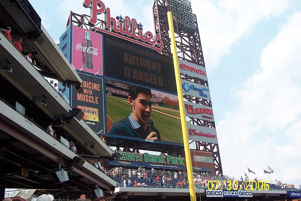 Singer on the scoreboard