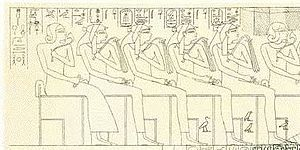 Ahmose-Henuttamehu - Prince Sipair, unknown royal lady, Queen Ahmose, Queen Tures, and Queen Henuttamehu - Tomb of Khabeknet in Thebes.