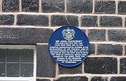 Photo of John Cockcroft blue plaque