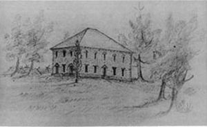 Pohick Church - Sketch of the church dating to c. 1830, drawn by one of the children of George Mason