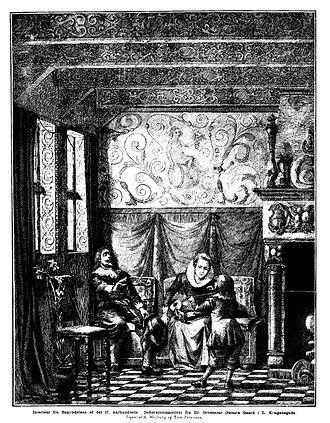 Peter Tom-Petersen - Interior of the Skipper's Guild House, from the Illustreret Tidende