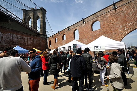 Smorgasburg opened in 2011 as an open-air food market and is part of the Brooklyn Flea. Smorgasburg in Dumbo.jpg