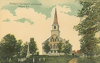 Nelson, New Hampshire - Image: Soldiers' Monument & Church, Nelson, NH