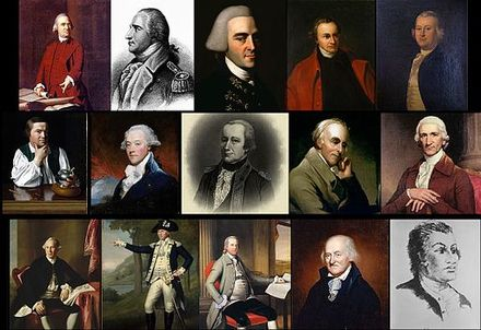 1st row: Samuel Adams • Benedict Arnold • John Hancock • Patrick Henry • James Otis, Jr.  2nd row: Paul Revere • James Swan • Alexander McDougall • Benjamin Rush • Charles Thomson  3rd row: Joseph Warren • Marinus Willett • Oliver Wolcott • Christopher Gadsden • Haym Salomon Not pictured: Hercules Mulligan, Thomas Melvill, Isaac Sears