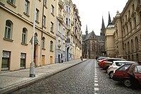 South view of Šubertova street in Vinohrady, Prague.jpg