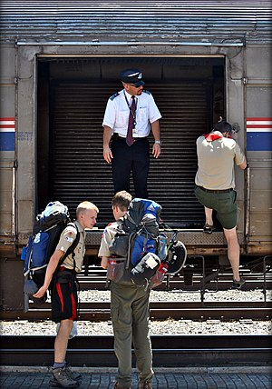 Southwest Chief - Boy Scouts unload their equipment at Raton in 2011.