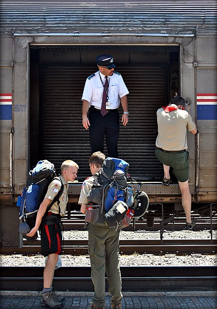 Boy Scouts unload their equipment at Raton in 2011. Southwest Chief @ Raton NM.jpg