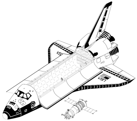 Space Shuttle Orbiter and Soyuz-TM (drawn to scale). Space Shuttle vs Soyuz TM - to scale drawing.png