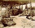 Spectators on cliffs above Five Finger Rapids on the Yukon River, Yukon Territory, ca 1899 (MEED 188).jpg