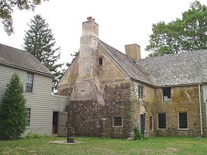 Spencer–Peirce–Little Farm - Spencer–Peirce–Little Farm, Newbury, Massachusetts. Rear oblique view, showing kitchen chimney.