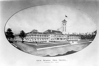 "Spring Hill (Mobile, Alabama) - The ""new"" Spring Hill Hotel in the early 20th century.  Located near the southeast corner of Old Shell Road and McGregor Avenue, it burned in 1918."