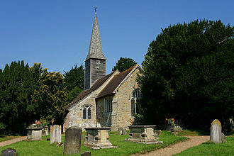 Crowhurst, Surrey - St.George's Church, Crowhurst. To the right of the church is the Crowhurst Yew
