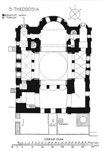 Gül Mosque - Plan of the ground floor of the mosque, after Van Millingen, Byzantine Churches in Constantinople (1912)
