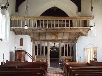 Llaneilian - 15th century rood screen and loft in St Eilian's church
