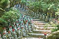 Staircase with statues, Daishō-in, Miyajima, May 2017.jpg