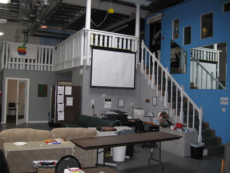 File:Stairs to deck at Hacker Dojo.JPG