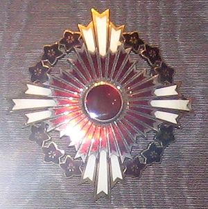 Order of the Paulownia Flowers - Image: Star of the Order of the rising sun with pulownia flowers