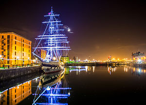"Stavros S Niarchos - Illuminated ""Stavros S Niarchos"" in Albert Dock, Liverpool on Dec 27, 2014"