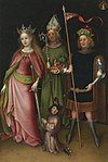 Stefan Lochner -Saints Catherine, Hubert, and Quirinus with a Donor.JPG