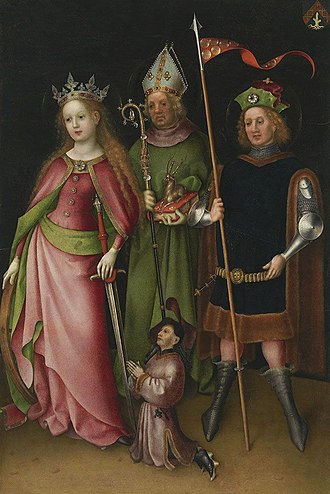 Four Holy Marshals - Saint Catherine of Alexandria with two of the Four Holy Marshals: Saint Quirinus (left) and Saint Hubertus (middle).  The small kneeling figure is the donor.