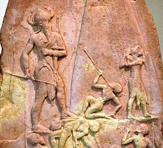 Naram-Sin of Akkad - Victory Stele of Naram-Sin, c. 2230 BC. It shows him defeating the Lullibi, a tribe in the Zagros Mountains, and their king Satuni, trampling them and spearing them. Satuni, standing right, is imploring Naram-Sin to save him. Naram-Sin is also twice the size of his soldiers. In the 12th century BC it was taken to Susa, where it was found in 1898.