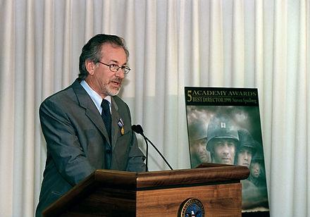 Spielberg speaking at the Pentagon on August 11, 1999 after receiving the Department of Defense Medal for Distinguished Public Service from Secretary of Defense William S. Cohen Steven Spielberg 1999.jpg